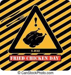 poulet, industriel, signe, frit, jour