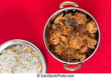 poulet, malabar, angle, élevé, curry