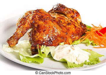 poulet, moitié