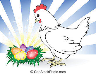 poulet, oeufs pâques