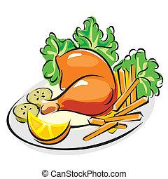 poulet, rôti, jambe