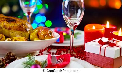 poulet rôti, sur, noël, table, devant, cheminée, et, arbre,...