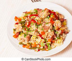 poulet, riz, légumes