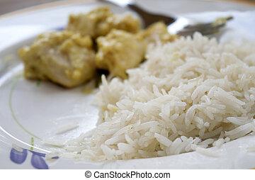 poulet, riz, sauce, moutarde, basmati