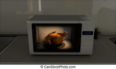 poulet, savoureux, rôti, microwave.