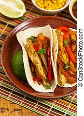 poulet, tacos