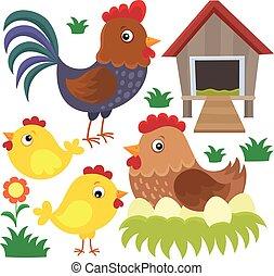 poulet, thématique, ensemble, 2