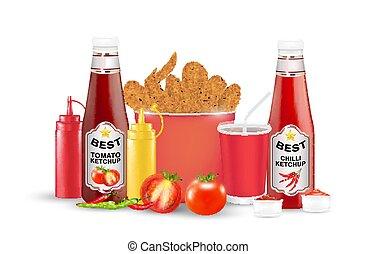 poulet, tomate, fond, bouteille, frit, ensemble, blanc, suace, chilli