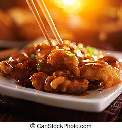 poulet, tso's, manger, baguettes, général