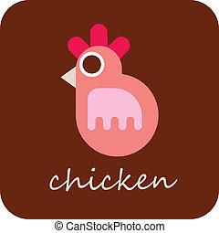 poulet, vecteur, -, icône