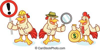 poulet, vecteur, mascotte, signe