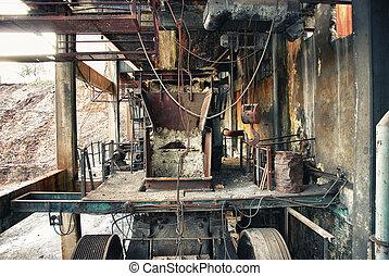 poulie, industriel, abandonnés, mine