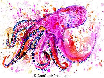 poulpe,  art, coloré