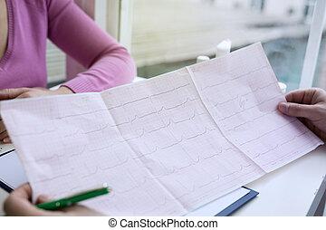 pouls, paper., photo, closeup, graphique, cardiogramme, ecg