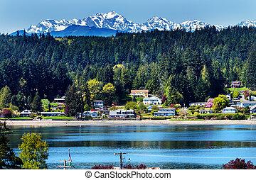 poulsbo, bainbridge 島, puget 音, 雪, 山, オリンピック 国立公園, ワシントン州, 太平洋北西部