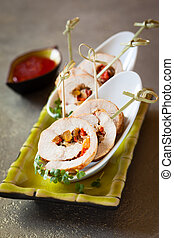 Poultry roulade filled with vegetables - Poultry roulade...