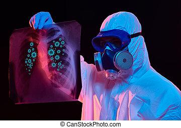 poumons, image, malade