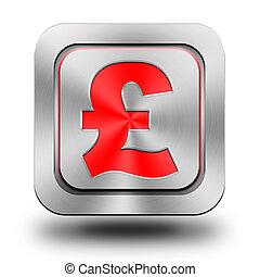 Pound aluminum glossy icon, button