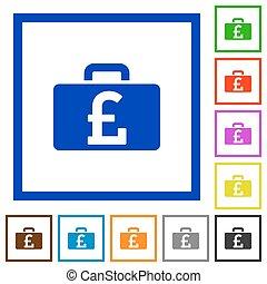 Pound bag framed flat icons