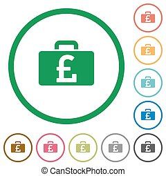 Pound bag outlined flat icons
