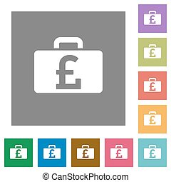 Pound bag square flat icons