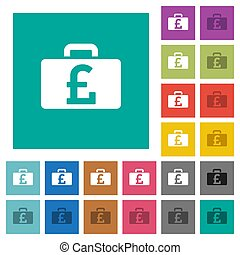 Pound bag square flat multi colored icons