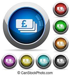 Pound banknotes button set