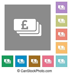 Pound banknotes square flat icons