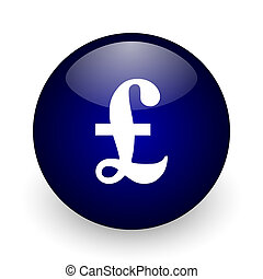 Pound blue glossy ball web icon on white background. Round 3d render button.