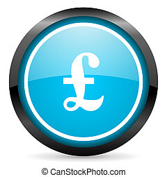 pound blue glossy circle icon on white background