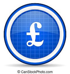 pound blue glossy icon on white background