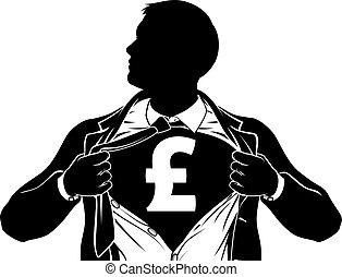 Pound Business Man Superhero Tearing Shirt Chest