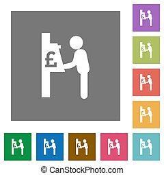 Pound cash machine square flat icons