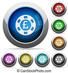 Pound casino chip button set