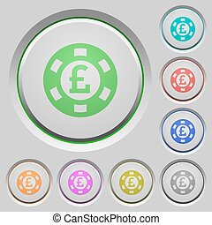 Pound casino chip push buttons