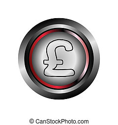Pound circle web glossy icon button
