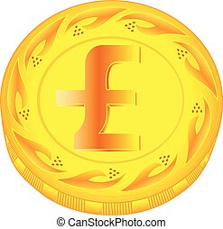 Pound coin - gold pound, metal pound, small change, pocket...