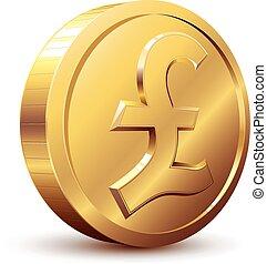 Pound coin - Shiny golden pound symbol. Eps8. CMYK. ...