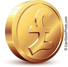 Pound coin - Shiny golden pound symbol. Eps8. CMYK....