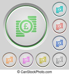 Pound coins push buttons