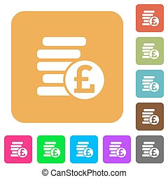 Pound coins rounded square flat icons
