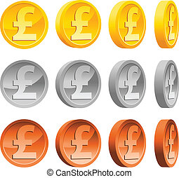 Vector set of gold, silver and copper pound coins.