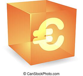 Pound cube icon - British pound icon on translucent cube ...