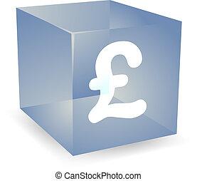 Pound cube icon - GB Pound icon on translucent cube shape ...
