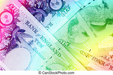 Pound currency background - 10 Pounds - Rainbow - Pound...