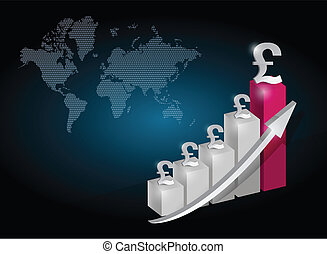 pound currency graph chart illustration design