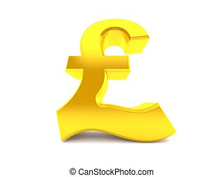 Pound currency in low angle isolated on white background. 3d...