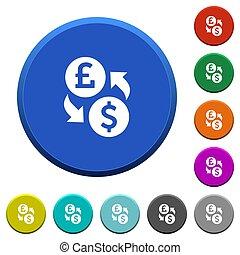 Pound Dollar money exchange beveled buttons