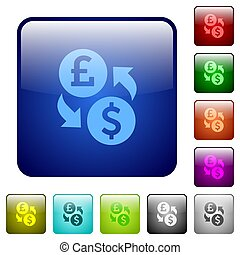 Pound Dollar money exchange color square buttons