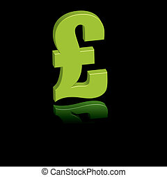 pound green - a green pound sign on a reflective background
